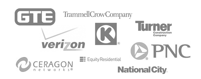 GTE, Verizon, Trammell Crow Company, Turner Construction, PNC, National City, Equity Residential, Ceragon Networks